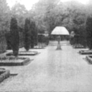 (Looking north west to the summer-house from south lawn)