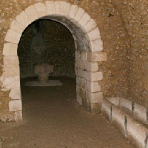 The crypt and font