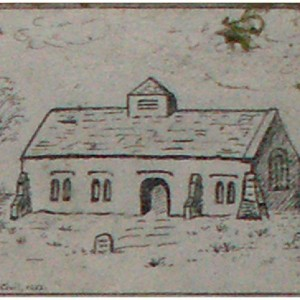 Sketch of old church on door of crypt